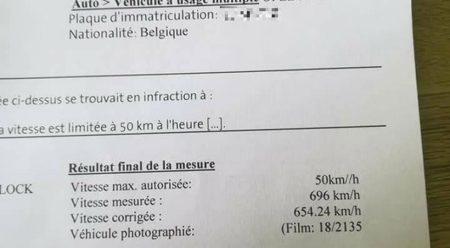 Un conductor belga, multado por conducir a 696 km/h