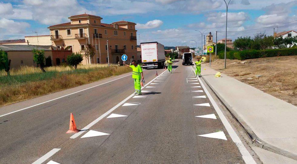 Las marcas viales experimentales en Nava de Roa (Burgos).